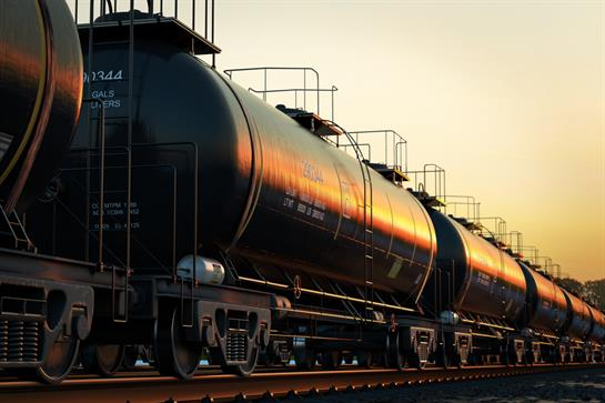 Photograph of black tank car in Chemical Transportation segment